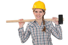 Woman with sledge-hammer Stock Image