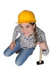 Woman with a sledgehammer. Stock Images