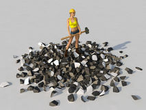 Woman with a sledgehammer standing on a debris Royalty Free Stock Photos