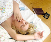 Woman sleep in bed Royalty Free Stock Image