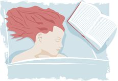Woman sleep on bed with book. Vector image. Tired women sleep with book Royalty Free Stock Photos