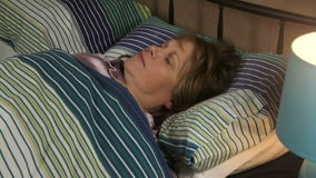 Woman Sleep Migrane stock footage