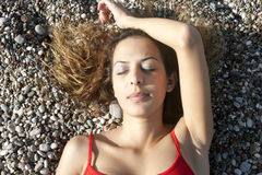 Woman is Sleeping Stock Images