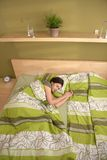 Woman sleeping alone in morning Royalty Free Stock Photography