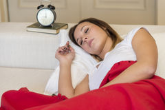 Woman sleeping bed Stock Photo