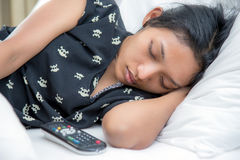 Woman sleeping in the bed Royalty Free Stock Images