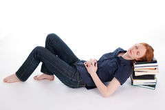 Woman Sleeping on Books Royalty Free Stock Photo