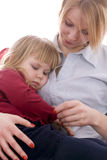 Woman with sleeping child Royalty Free Stock Images
