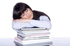 Woman sleeping on file folders Stock Photos