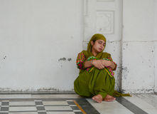 A woman sleeping at the Golden temple in Amritsar Royalty Free Stock Image