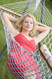 Woman sleeping in hammock Royalty Free Stock Image