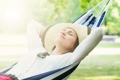Woman Sleeping In Hammock Stock Photography