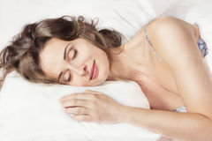 Free Woman Sleeping In The Bed Stock Photo - 26132490