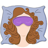 Woman with Sleeping Mask Royalty Free Stock Photography