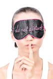 Woman in sleeping mask Royalty Free Stock Photography