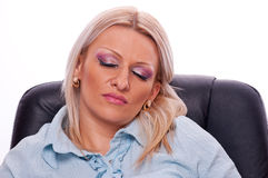Woman sleeping in the office Royalty Free Stock Image