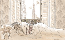 Woman sleeping in Paris Royalty Free Stock Images