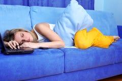 Woman sleeping at the PC Stock Photos