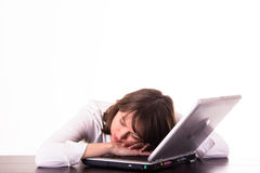 Woman sleeping at the PC Royalty Free Stock Image