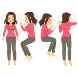 Woman Sleeping Poses. Illustration set of woman in four different sleeping poses Stock Images