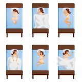 Woman Sleeping Poses Top View. Top view of sleeping women lying on single bed in different poses isolated decorative icons set vector illustration Stock Photo