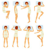 Woman sleeping postures, relaxing female sleep in different poses in bedroom - vector set Stock Photo