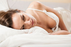 Woman sleeping in sexy underwear Stock Image