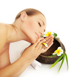Woman sleeping in spa Stock Image