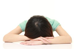 Woman Sleeping on the Table Royalty Free Stock Photography