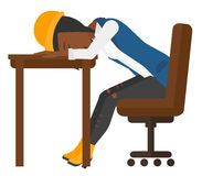 Woman sleeping on table. A tired african-american woman sleeping on table vector flat design illustration isolated on white background Royalty Free Stock Photos