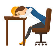 Woman sleeping on table Stock Photo