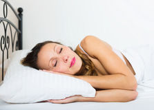 Woman sleeping in underwear Royalty Free Stock Images