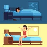 Woman sleeping waking up. Girl relaxing bedroom night, awake morning stretching sitting on mattress. Female good sleep. Vector set stock illustration