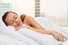 Woman Sleeping by Window Royalty Free Stock Images
