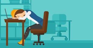 Woman sleeping on workplace. Royalty Free Stock Photo