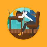 Woman sleeping on workplace vector illustration. Stock Image