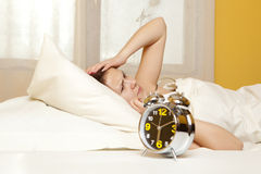 Woman sleeps in the bedroom Royalty Free Stock Photos
