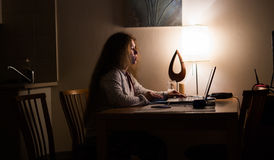 Woman sleepy and tired in internet communication overuse concept Royalty Free Stock Photography