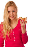 Woman with slice of delicious pizza, can't wait to bite in it. Royalty Free Stock Photography
