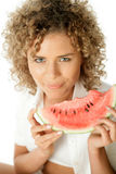 Woman with slice of watermelon. Portrait of young woman with slice of watermelon isolated on white background royalty free stock photos