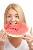 Woman with slice of watermelon Stock Photo
