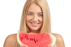 Woman with slice of watermelon Stock Image