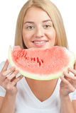 Woman with slice of watermelon Stock Images