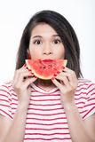 Woman with slice of watermelon Royalty Free Stock Images