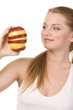 Woman and slices of apples Stock Photo