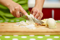 Woman slicing onion on a wooden board Stock Images