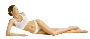 Woman Slim Body Beauty, Beautiful Model Lying in Underwear Royalty Free Stock Photo