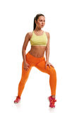 Woman with slim body. stretching training legs Royalty Free Stock Photography