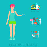 Woman slim healthy lifestyle vector flat: diet, fitness. Flat slim healthy lifestyle vector infographics concept. Thin female woman human figure front view with Royalty Free Stock Images