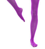 Woman slim legs and violet stockings isolated Royalty Free Stock Photography
